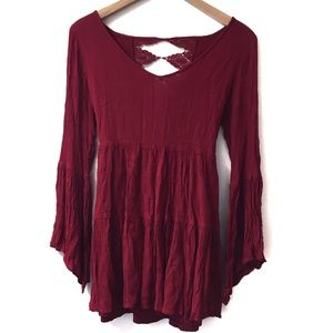 Altr'd State red peasant tunic/dress bell sleeves